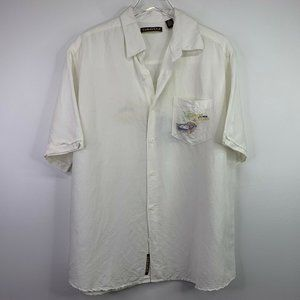 Cubavera XL Button Up Embroidered Ivory Linen